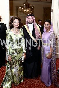 HM Queen Silvia of Sweden, Prince Abdul bin Talal Abdul-Aziz al Saud and Princess Sora Al Saud. Photo by Tony Powell. Mentor Foundation USA International Gala. Mayflower Hotel. September 22, 2015