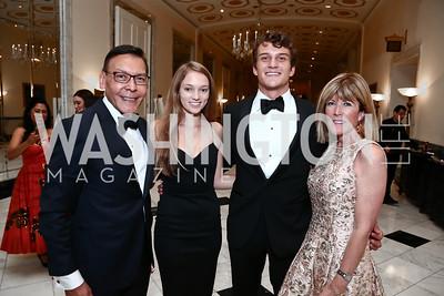 Felix Sanchez, Molly Ivins, Philippe Sanchez, Ginny Grenham. Photo by Tony Powell. 2015 Noche de Gala. October 6, 2015