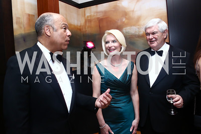 Homeland Security Secretary Jeh Johnson, Callista and Newt Gingrich. Photo by Tony Powell. 2015 Opera Ball. June 6, 2015