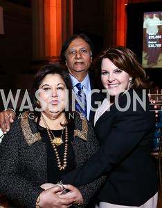 Shaista and Ray Mahmood, Rachel Pearson. Photo by Tony Powell. 2015 Refugees International Annual Dinner. Mellon Auditorium. April 28, 2015