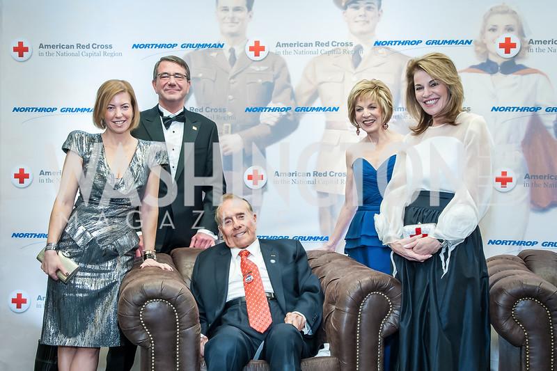 Stephanie and Ashton Carter, Bob Dole, Linda Mathes, Teresa Carlson. Photo by Tony Powell. 2015 Salute to Service Gala. November 20, 2015