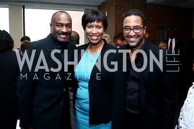 Step Afrika Executive Director Brian Williams, Reggie Van Lee, DC Mayor Muriel Bowser. Photo by Tony Powell. 2015 Step Afrika Gala. HU. June 4, 2015