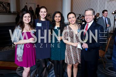 Elana Jablon, Kaelin McAtee, Trisha Sanghavi, Kelly Bonilla, Bryan Jacoboski. Photo by Tony Powell. 2015 Teach for America Gala. Omni Shoreham. March 4, 2015