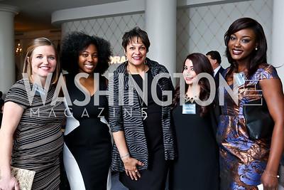 Catherine Wideman, Jennifer Boone, Debbi Jarvis, Madina Olomi, Nikola Malcolm. Photo by Tony Powell. 2015 Teach for America Gala. Omni Shoreham. March 4, 2015