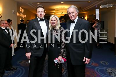 Tesla CEO Elon Musk, Susan Blumenthal, Sen. Ed Markey. Photo by Tony Powell. 2015 WHCD Pre-parties. Hilton Hotel. April 25, 2015