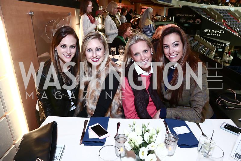 Whitney Burns, Autria Godfrey, Jennifer Lindsay Duffie, Dawn Gontkovic. Photo by Tony Powell. 2015 WIHS President's Cup Party. Verizon Center. October 24, 2015