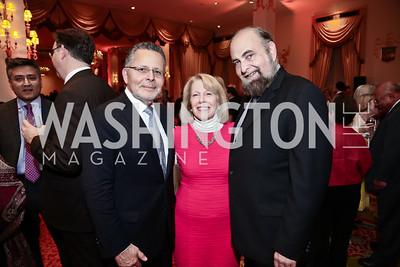 Mario Velasquez, Susan Ginsburg, Mark Kleiman. Photo by Tony Powell. 2015 WOLA Human Rights Awards. Mayflower. October 28, 2015