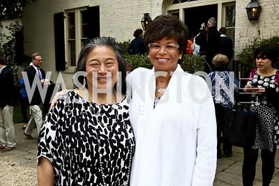 Tina Tchen, Valerie Jarrett. Photo by Tony Powell. 2015 WHC Garden Brunch. April 25, 2015