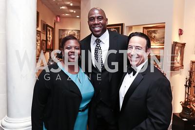 DC Public Schools Chancellor Kaya Henderson, Magic Johnson, Michael Norris. Photo by Tony Powell. 2015 World Affairs Council Gala. Ritz Carlton. June 9, 2015