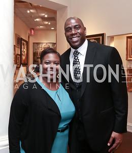 DC Public Schools Chancellor Kaya Henderson, Magic Johnson. Photo by Tony Powell. 2015 World Affairs Council Gala. Ritz Carlton. June 9, 2015