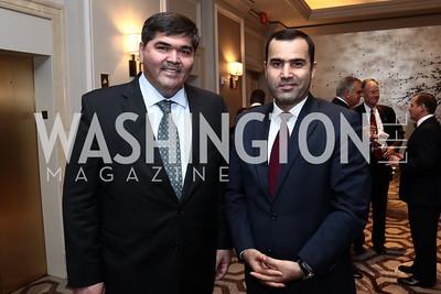 Uzbekistan Amb. Bakhtiyar Gulyamov, Tajikistan Amb. Farhod Salim. Photo by Tony Powell. 2015 World Affairs Council Gala. Ritz Carlton. June 9, 2015