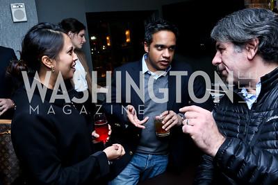 Archana Mehta, Manu Raju, Soroush Richard Shehabi. Photo by Tony Powell. YGL Cocktail Party. W Hotel. February 18, 2015