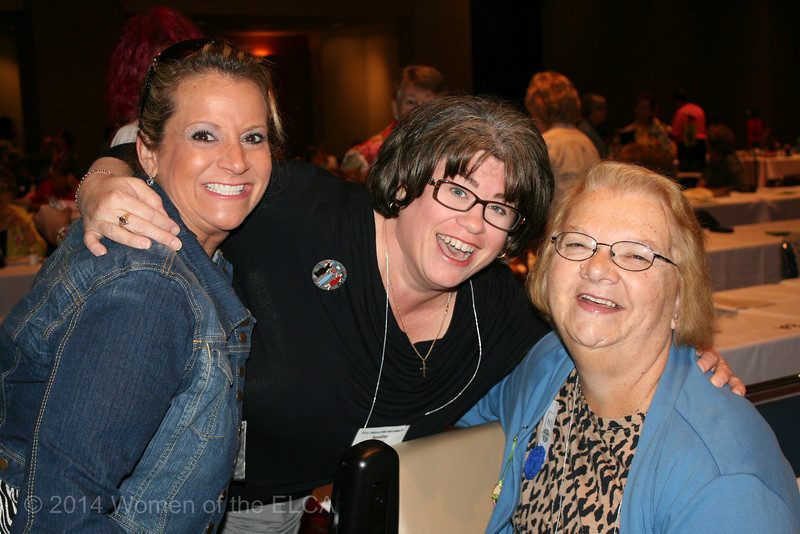 Ninth Triennial Convention | Jenny Michael, former churchwide executive board president (center) takes a moment to pose for a photo with delegates Melissa Holden (left) and Mary Ann Patterson.