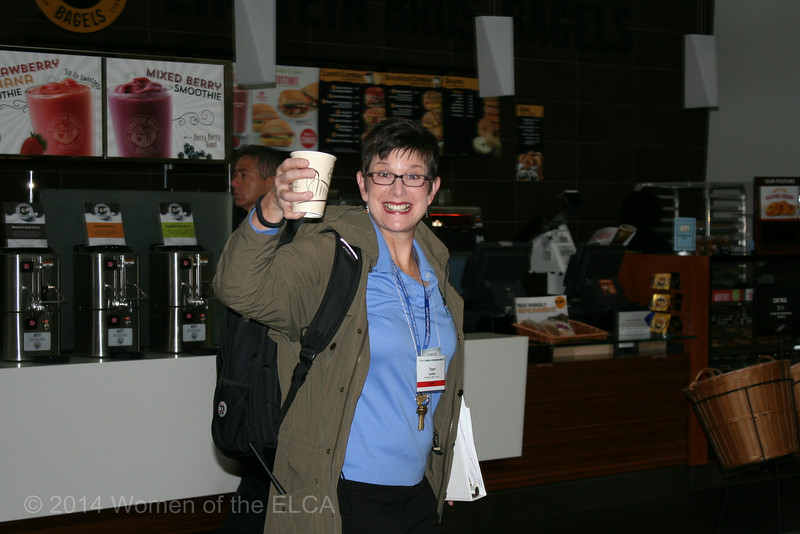 Ninth Triennial Convention | Women of the ELCA staff, Terri Lackey get her caffeine fix before the excitement starts.