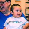 Ninth Triennial Convention | Linda Post Bushkosky and her granddaughter Jordyn. Jordyn is modeling Women of the ELCA's newest fashion item: The toddler t-shirt.
