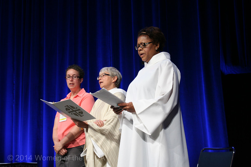 Ninth Triennial Convention | Casey Colledge (left),Everett, PA, The Rev. Sue Gamelin, Jamestown, NC and Freddie Jordon, Columbus, OH begin worship.
