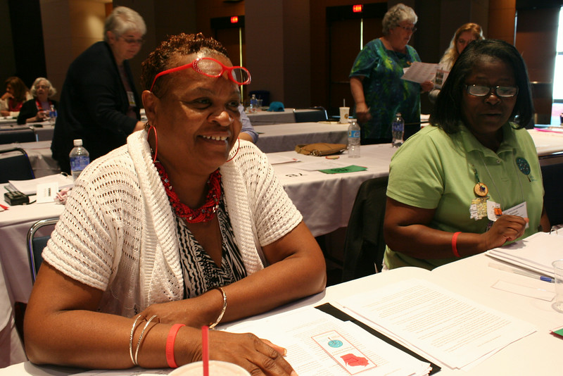 Ninth Triennial Convention | Delegates from 5A, Gloria D. Green and Deborah Banks-Williams, Chicago, IL smile during a recess for the election of the churchwide executive board