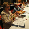 Ninth Triennial Convention | Ella Johnson, Grand Meadow, MN (left) Carol Preissner (right), Rochester, MN pass the offering basket during plenary 3