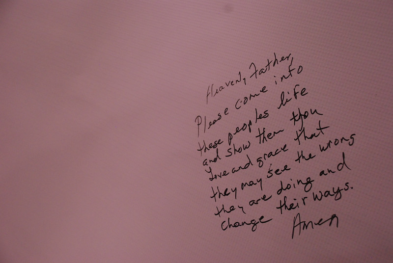 "On a board in the ""Stop Human Trafficking"" exhibit, participants shared their prayers for those who are trafficking women and children in the U.S. and around the globe to stop and ""change their ways."" EH."