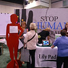 "In the ""Stop Human Trafficking"" exhibit, participants learn about Lily Pad Haven, an organization that provides housing and transitional services for women who have survived human trafficking, a form of modern-day slavery. EIghty percent of human trafficking involves sexual exploitation. EH."