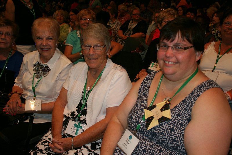 Ninth Triennial Gathering | From the left: Naomi Hanson, Iowa City, IA, Zion Lutheran; Marcia Engebretson, Decorah, IA, First Lutheran; and Cindy Pogge, Kanawka, IA, St. Olaf of Belmond, prepare for closing worship