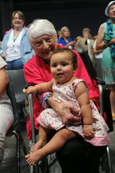 Ninth Triennial Gathering | Dot Wise, Greenwood, SC, age 97, sits with Jordyn Jackson, Oak Park, IL, the youngest participant at the gathering