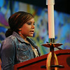Ninth Triennial Gathering   Macie Ryanna Hefner reads the Scripture from 1 King 3:5-12 at closing worship