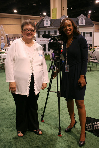 Ninth Triennial Gathering | Linda Post Bushkofsky, left, and Cheryl from Fox 46 discuss the gathering and the two thousand women who will be coming to the triennial gathering