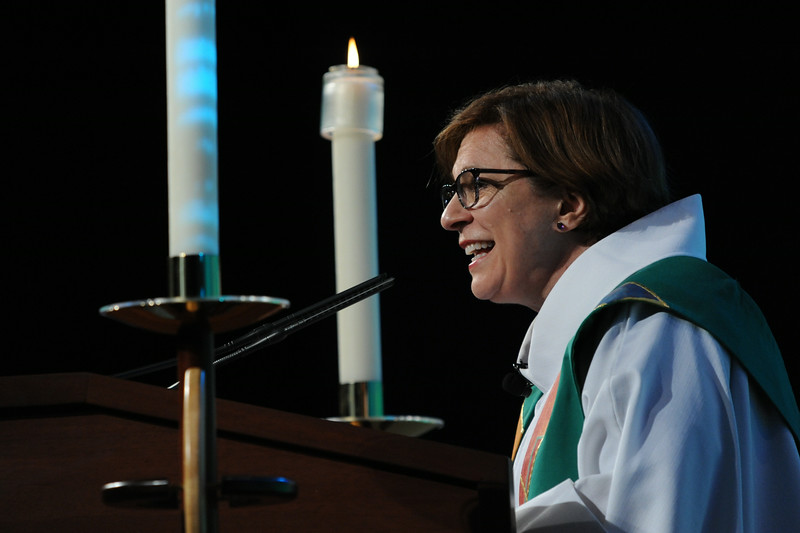 Claire Schenot Burkat preached at Thursday evening's opening worship. Burkat is bishop of the Southeastern Pennsylvania Synod of the ELCA.