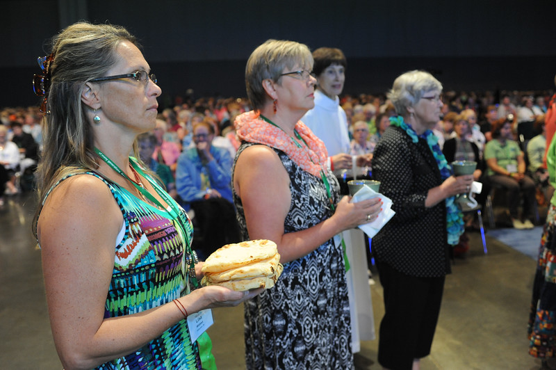 Communion assistants at the ready -- opening worship at the gathering.