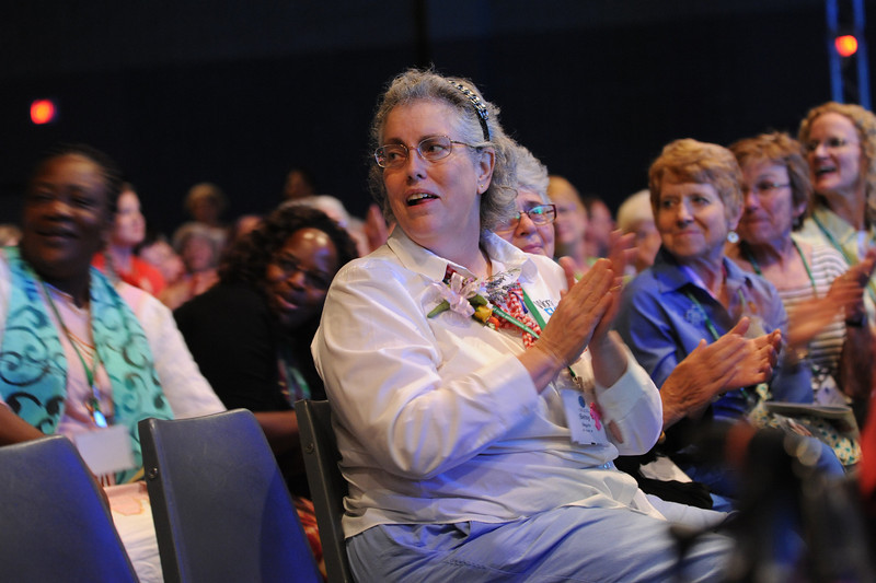 Betsy Baghun, former churchwide executive board member, worships Thursday evening