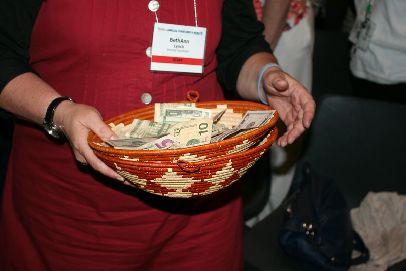 Ninth Triennial Gathering | Offering basket collected during worship