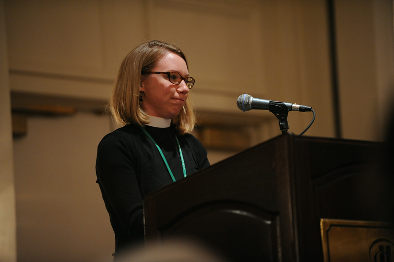 Ninth Triennial Gathering | The Rev. Emily Hartner, Charlotte, NC, St. Marks, gives a blessing before the first-time attendees breakfast