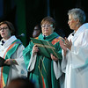 Bishop Claire Burkat, the Rev. Raquel Rodriguez, and Maxine Amos lead the opening worship service of the gathering.