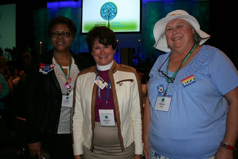 Ninth Triennial Gathering | Freddie Jordan (left),  Bishop Suzanne Dillahut, Columbus, OH, and Brenda Wright, Eaton OH, pose before opening worship