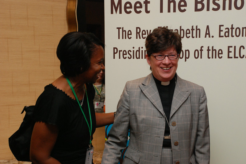 Miji Bell, Baltimore, Md., shares a laugh with Bishop Elizabeth Eaton at the 2014 Women of the ELCA Triennial Gathering. EH.