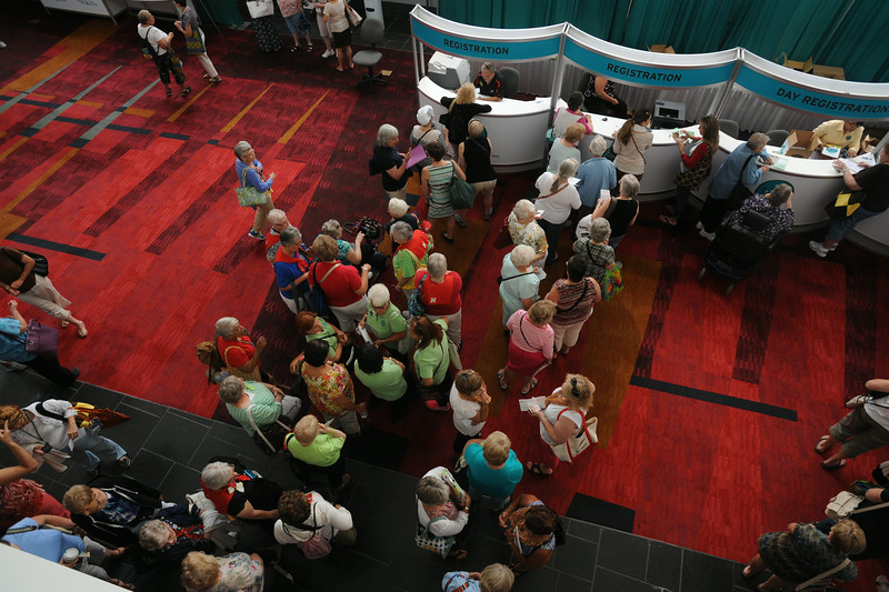 Ninth Triennial Convention | Delegates registering for the triennial gathering