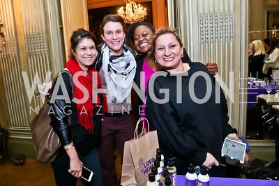 """Jennifer Desimone, Morgan Davison, Rahama Wright, Shana Goodwin. Photo by Tony Powell. An evening in celebration of, """"a path appears."""" Meridian House. January 13, 2015"""