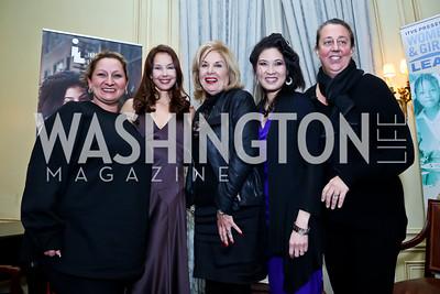"Shana Goodwin, Ashley Judd, Hon. Patricia Harrison, Sheryl WuDunn, Maro Chermayeff. Photo by Tony Powell. An evening in celebration of, ""a path appears."" Meridian House. January 13, 2015"