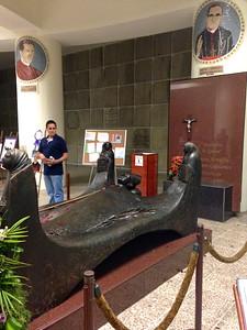 At Oscar Romero's tomb celebrating his upcoming beatification.
