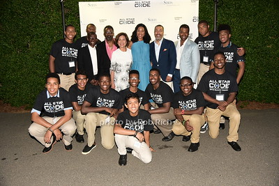 Troy Carter, Marcus Mitchell, Loida Nicolas Lewis, Christina Lewis Halpern, Valentino D. Carlotti, and Frank A.Baker pose with the All Star Coders at the All Star Code's Second Annual Summer Benefit on July 25, 2015 at the private residence of Loida Nicolas Lewis in East Hampton. photo by Rob Rich/SocietyAllure.com