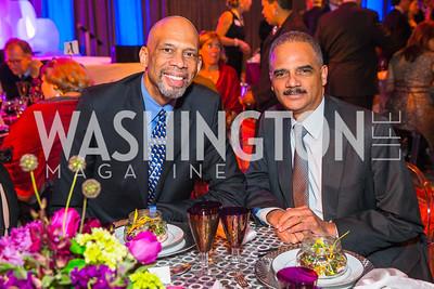 Kareem Abdul-Jabbar, Eric Holder. Photo by Alfredo Flores. An Evening with Kareem Abdul-Jabbar. The National Building Museum. October 30, 2015.