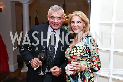 Tony Rozakis, Alessandra Gelmi. Photo by Tony Powell. An Evening with Sharon Stone. Mafi Residence. July 25, 2015