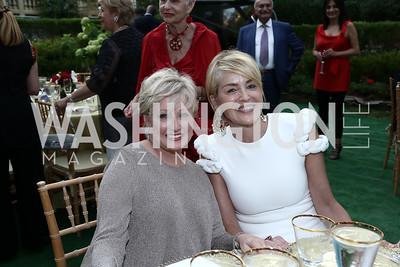Debra Schiff, Sharon Stone. Photo by Tony Powell. An Evening with Sharon Stone. Mafi Residence. July 25, 2015