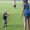 Logan Benjamin, 3 of Ashburnham reacts to catching a softbal tossed by his aunt Kim Calandrella at the town softball game between Ashburnham and Royalston at Oakmont. SENTINEL&ENTERPRISE/ Jim Marabello