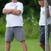 Ashburnham's Steve Cozwell (left) and  Bob Fichtel watch over proceedings at the Ashburnham vs Royalston softball game at Oakmont. SENTINEL&ENTERPRISE/ Jim Marabello