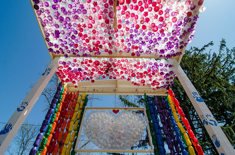The completed recycled art project created by local Girl Scouts in memory oftheir friend, Kate Arpano. Six-year-old Kate died in January after a battle with a rare brain cancer. SENTINEL & ENTERPRISE / Ashley Green
