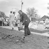 A gentleman raises a shovelful of dirt during the groundbreaking ceremonies at Edgewood School in 1977. Do you know what the groundbreaking was for, or recognize the man with the shovel? If so, share the information under the photo online on the Effingham Daily News Facebook page.