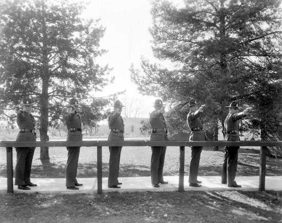 This photo from 1958 shows a line of police officers practicing with their guns. Do you recognize any of the men? Is so, share the information under the photo online at the Effingham Daily News Facebook page.