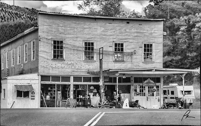 A General Store in Alleghany County, NC. Are there bullet holes splayed across the front of the building?